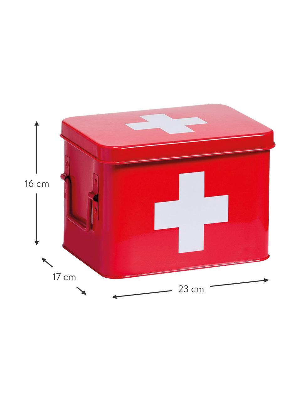 Scatola custodia Medizina, Metallo rivestito, Rosso, bianco, Larg. 23 x Alt. 16 cm