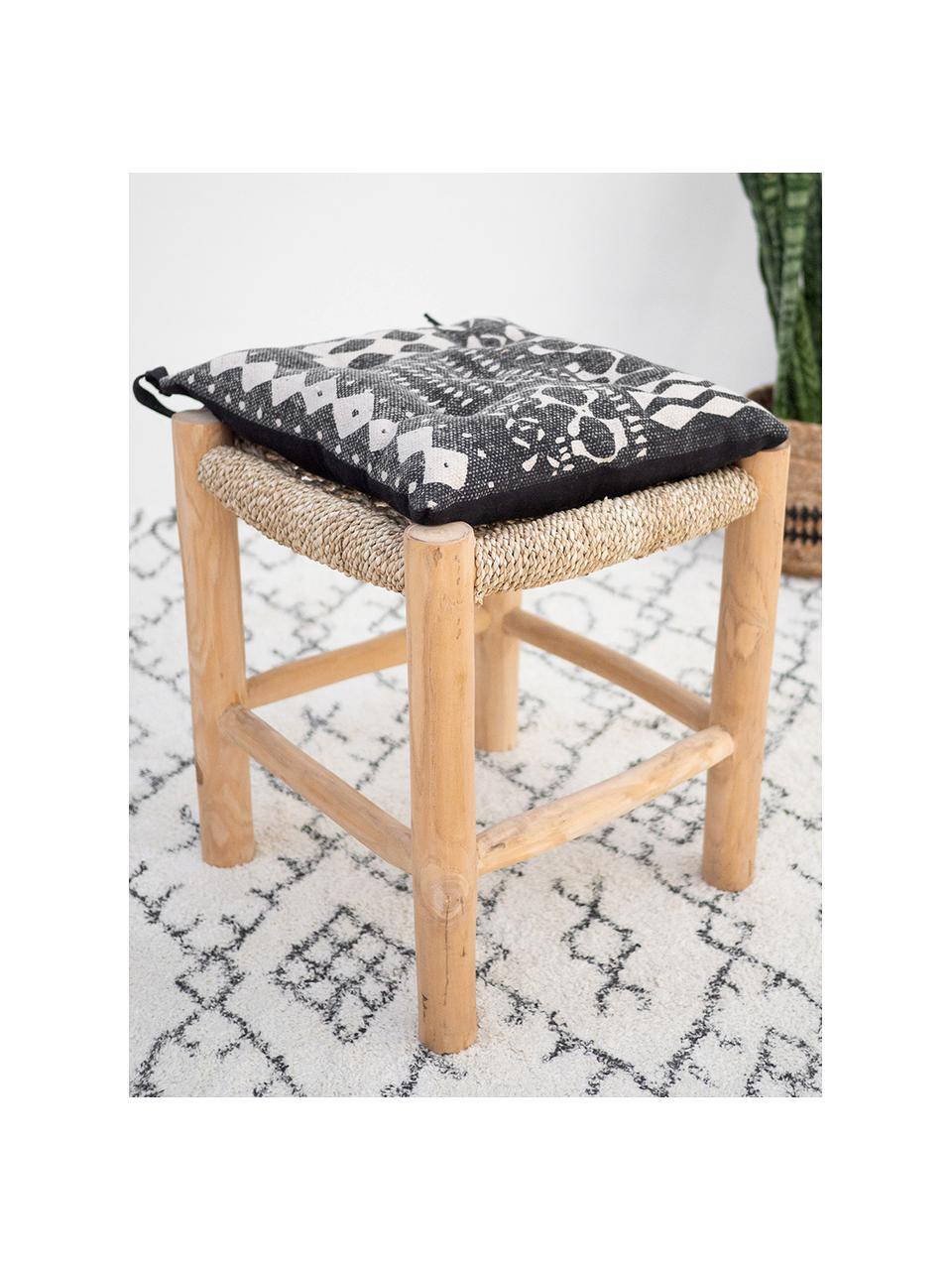 Poduszka na krzesło Boa, 100% bawełna, Czarny, biały, S 40 x W 4 cm