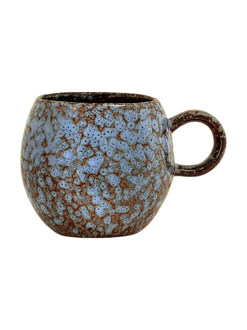 Handgemachte Tasse Paula mit effektvoller Glasur, Steingut, Blau, Braun, Ø 9 x H 8 cm