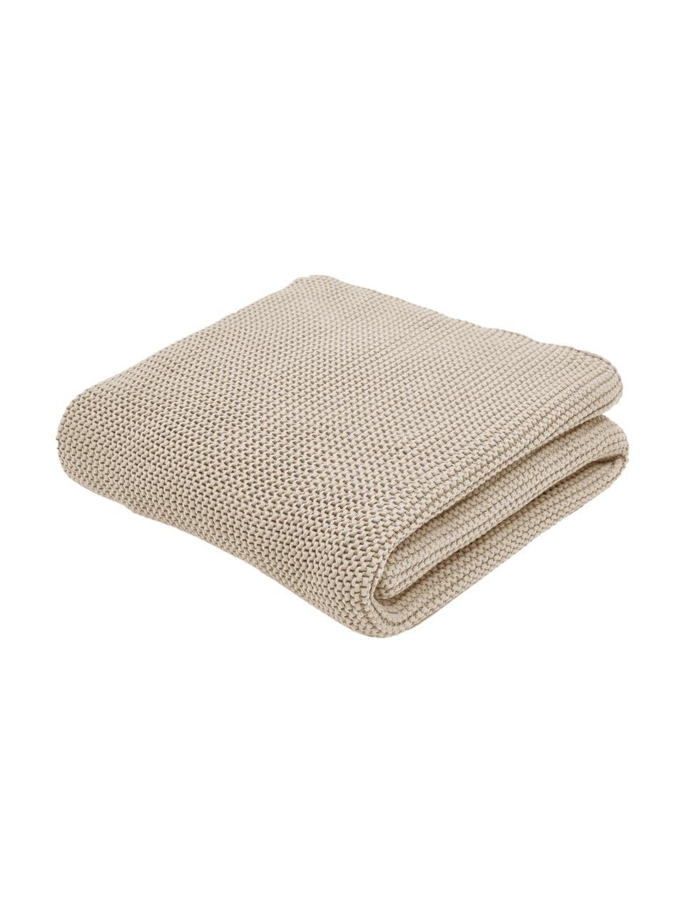Plaid fatto a maglia beige Adalyn, 100% cotone, Beige, Larg. 150 x Lung. 200 cm