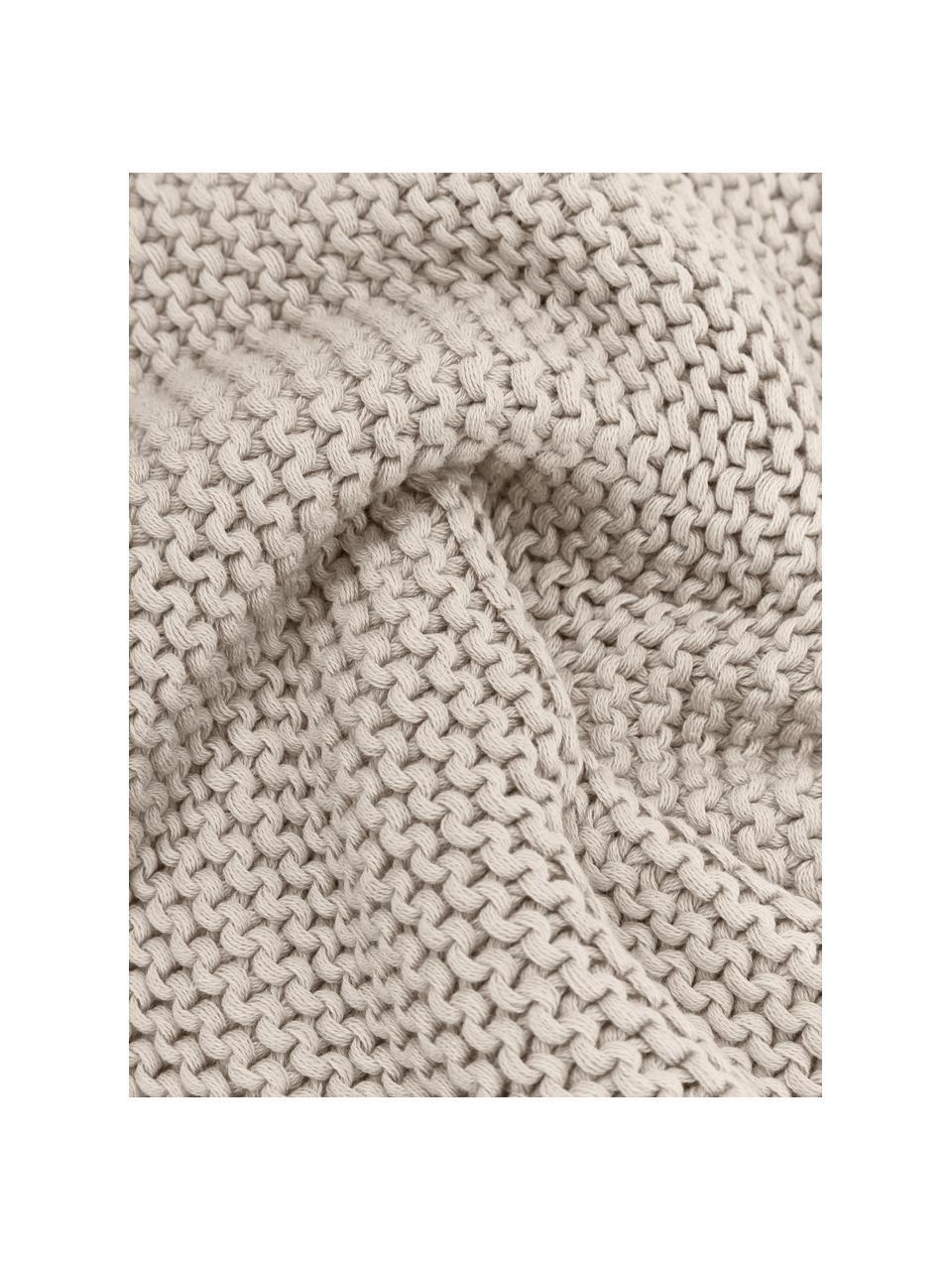 Gebreide plaid Adalyn van biokatoen in beige, 100% biokatoen, GOTS-gecertificeerd, Beige, 150 x 200 cm