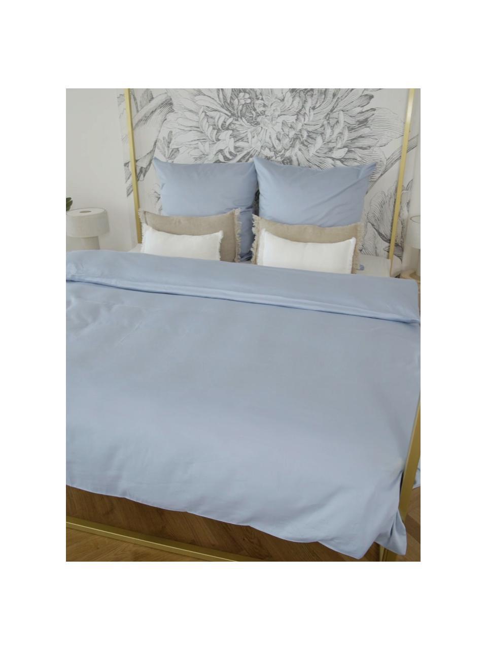 Pościel z satyny bawełnianej Comfort, Jasny niebieski, 135 x 200 cm + 1 poduszka 80 x 80 cm