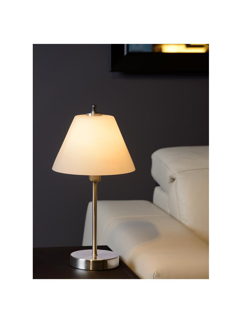 Dimmbare Tischlampe Touch mit Glasschirm, Lampenschirm: Opalglas, Lampenfuß: Metall, Chrom, satiniert, Opalweiß, Ø 22 x H 42 cm