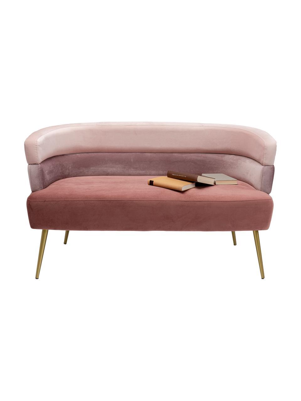 Divano retrò 2 posti in velluto rosa Sandwich, Rivestimento: velluto di poliestere, Piedini: metallo verniciato a polv, Velluto rosa, Larg. 125 x Prof. 64 cm