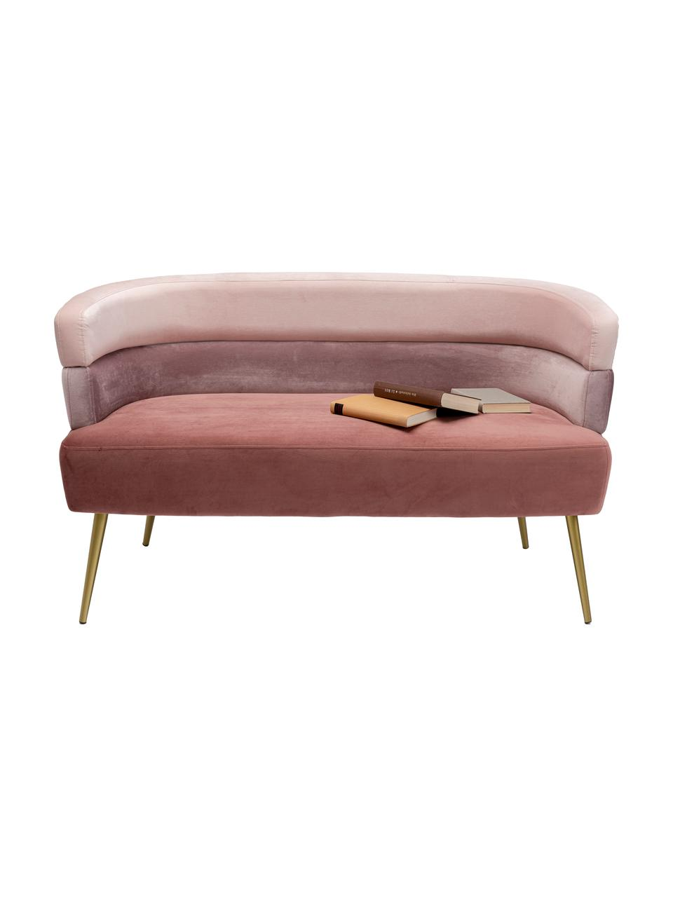 Fluwelen bank Sandwich (2-zits) in roze aan de retro-design, Bekleding: polyester fluweel, Poten: gepoedercoat metaal, Fluweel roze, B 125 x D 64 cm