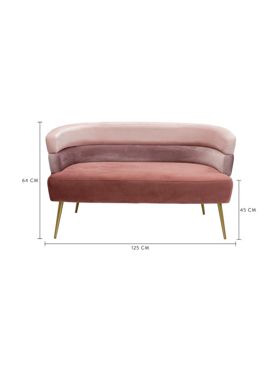 Sofa z aksamitu Sandwich (2-osobowa), Tapicerka: aksamit poliestrowy, Nogi: metal malowany proszkowo, Aksamitny blady różowy, S 125 x G 64 cm