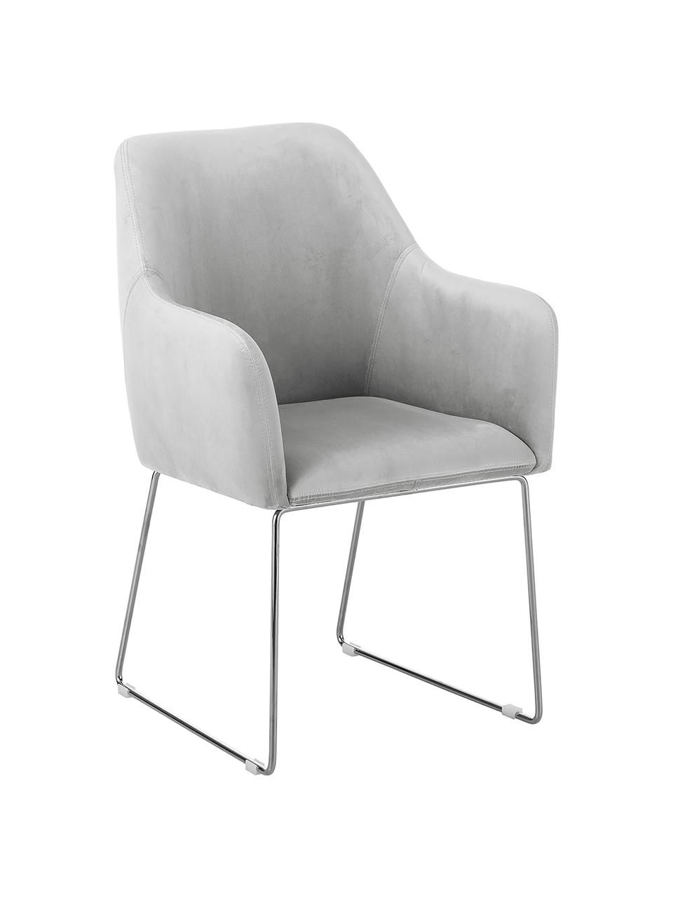 Sedia con braccioli in velluto Isla, Rivestimento: velluto (poliestere) Con , Gambe: metallo rivestito, Velluto grigio chiaro, gambe argento, Larg. 58 x Prof. 62 cm