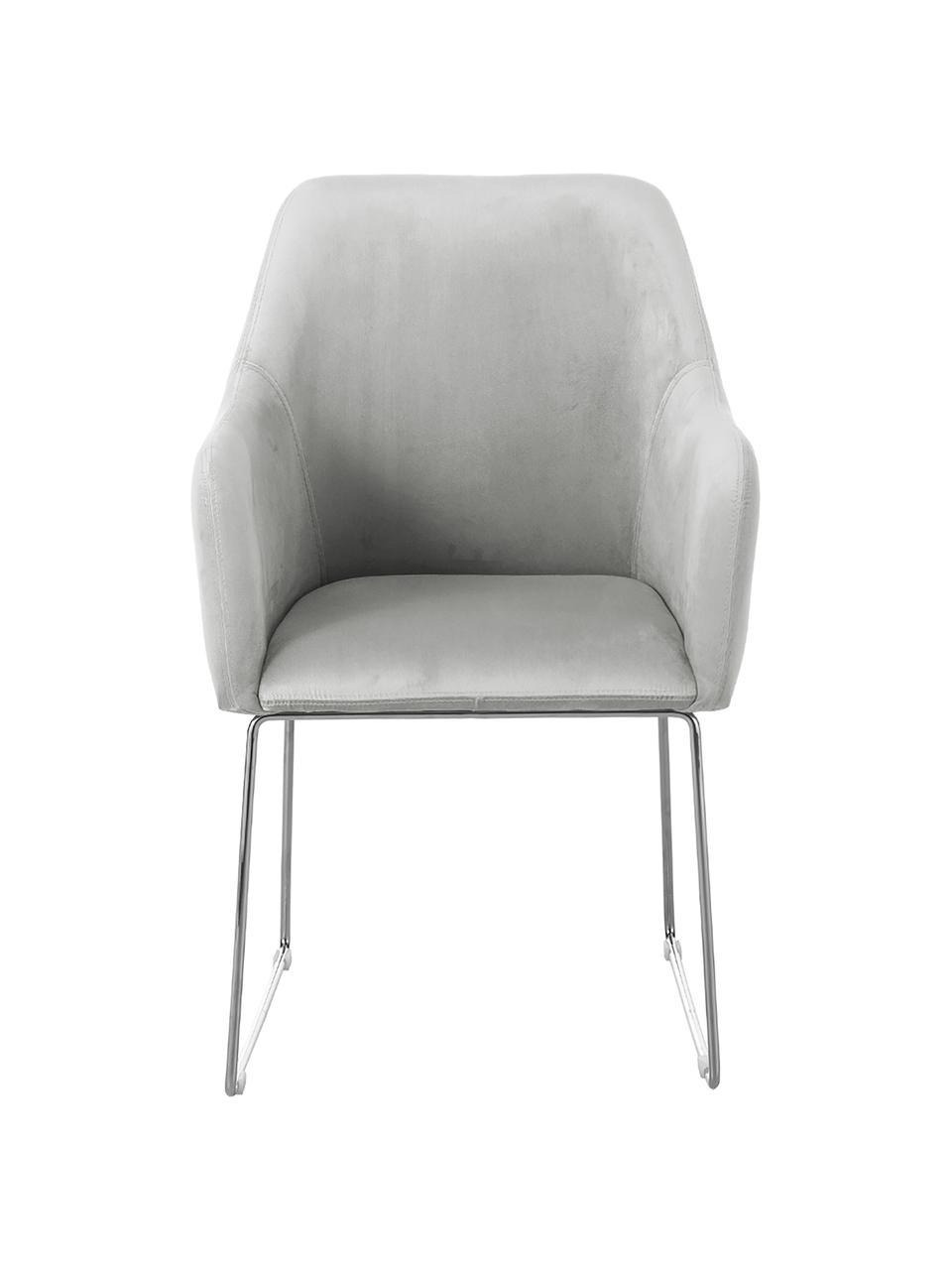 Krzesło z podłokietnikami z aksamitu Isla, Tapicerka: poliester Dzięki tkaninie, Nogi: metal malowany proszkowo, Aksamitny jasny szary, srebrny, S 58 x G 62 cm