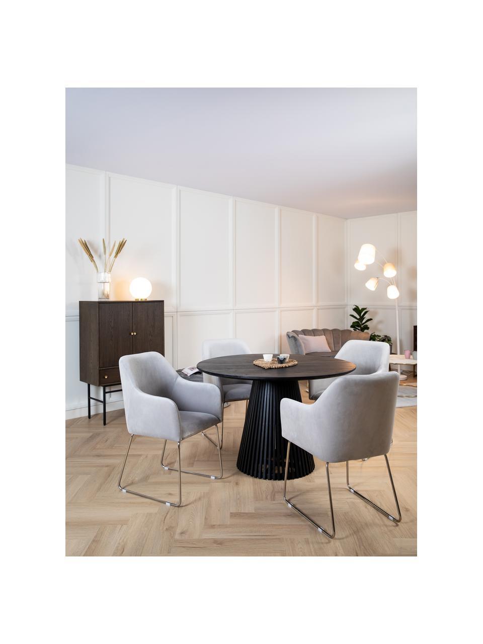 Fluwelen armstoel Isla in lichtgrijs, Bekleding: polyester, Poten: gecoat metaal, Fluweel lichtgrijs, poten zilverkleurig, B 58 x D 62 cm