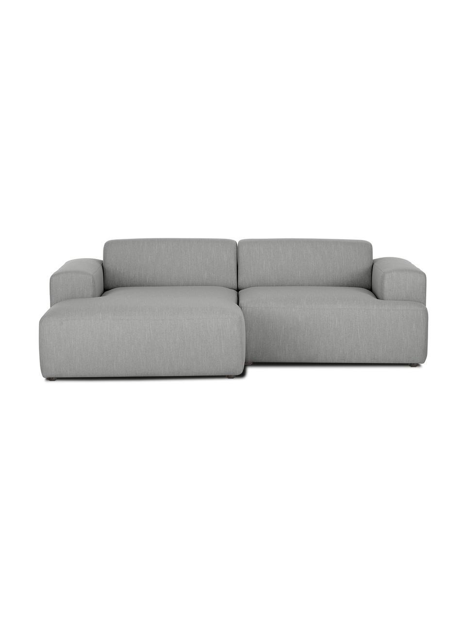 Hoekbank Melva (3-zits) in grijs, Bekleding: 100% polyester, Frame: massief grenenhout, FSC-g, Poten: kunststof, Geweven stof grijs, B 239 x D 143 cm