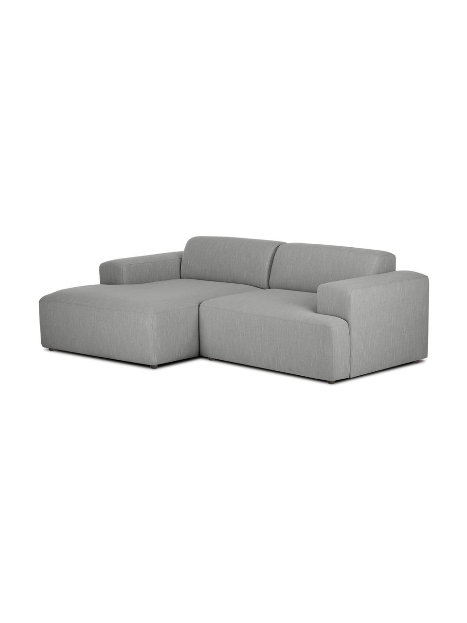 Canapé d'angle 3places gris Melva, Tissu gris