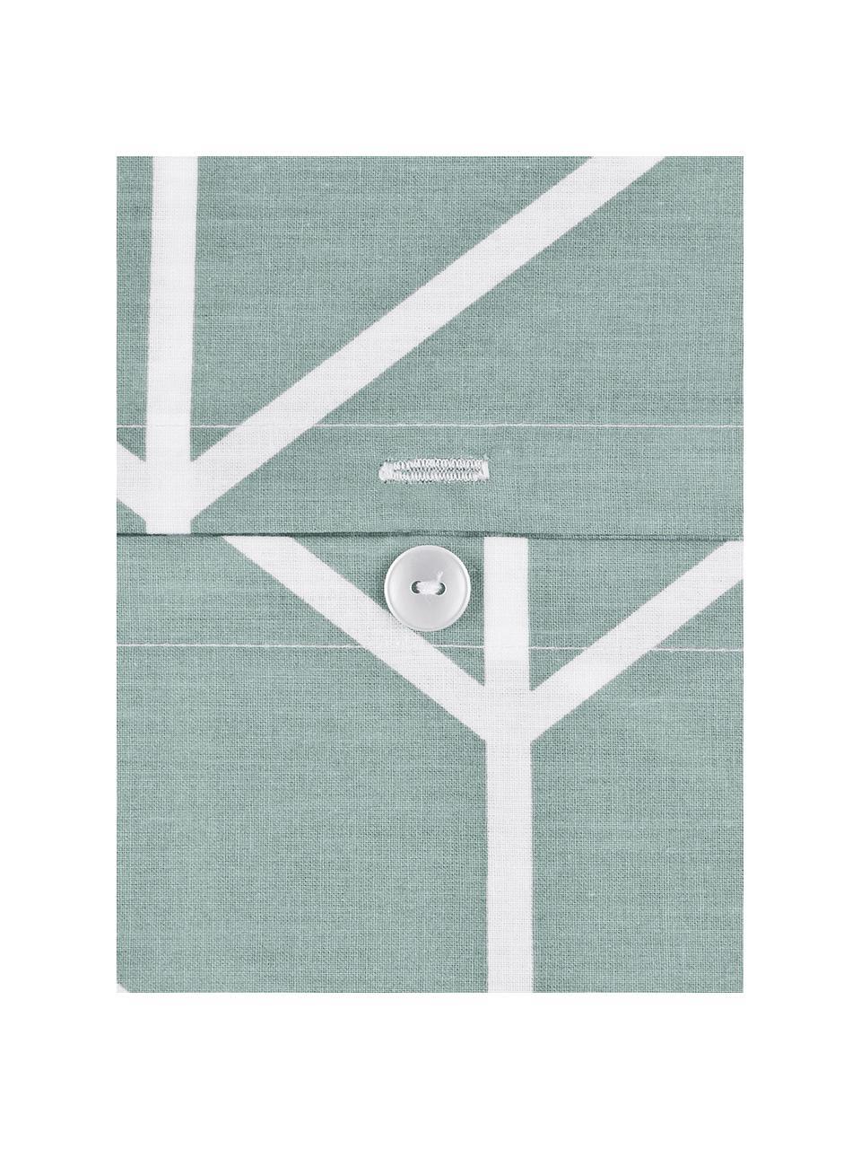 Pościel z bawełny renforcé Mirja, Zielony, kremowobiały, 155 x 220 cm + 1 poduszka 80 x 80 cm