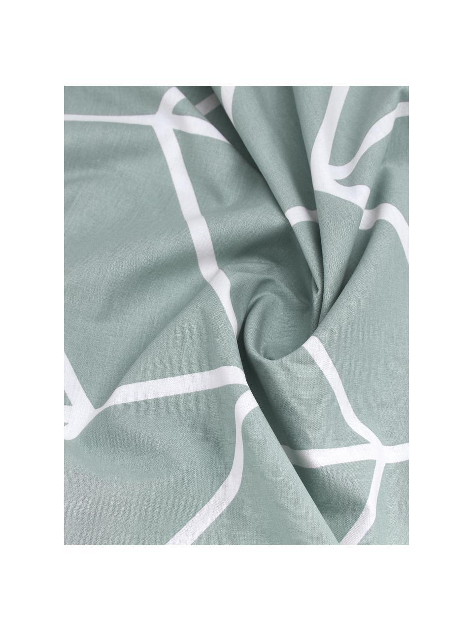 Baumwoll-Bettwäsche Mirja mit grafischem Muster, Webart: Renforcé Fadendichte 144 , Grün, Weiß, 155 x 220 cm + 1 Kissen 80 x 80 cm