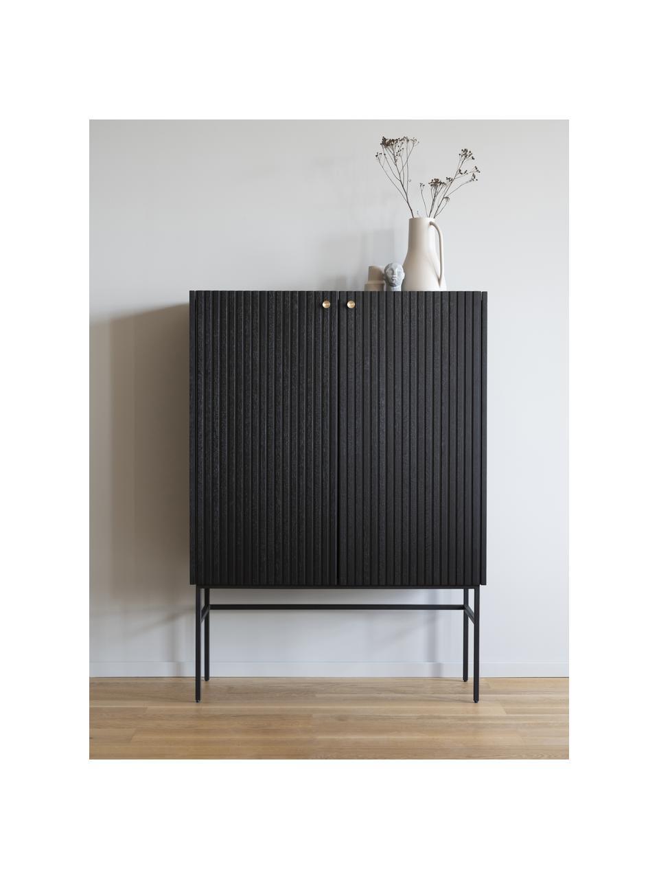 Credenza alta nera con frontale scanalato Halifax, Struttura: pannello di fibra a media, Gambe: metallo verniciato a polv, Nero, Larg. 100 x Alt. 140 cm