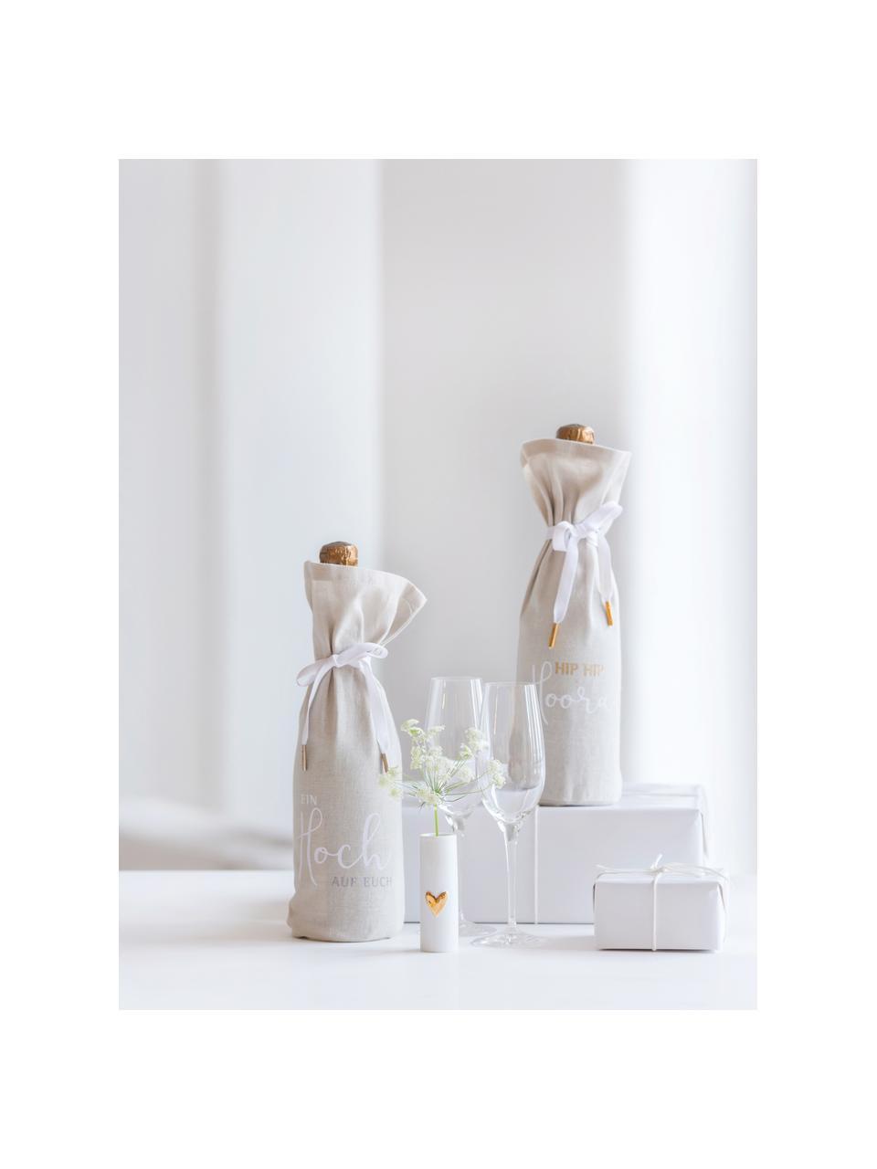 XS Porzellan-Vase Heart, 2 Stück, Porzellan, Weiß, Goldfarben, Ø 3 x H 9 cm