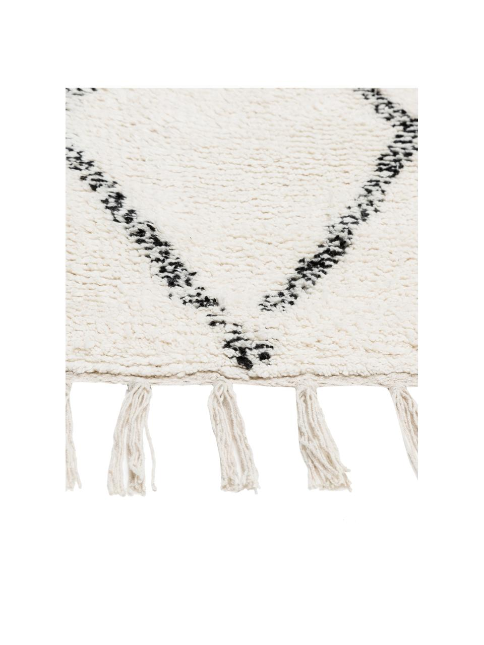 Tappeto tessuto a mano con frange Berber, 100% cotone, Grigio, bianco crema, Larg. 140 x Lung. 200 cm (taglia S)