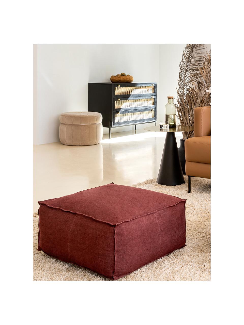 Handgemaakt vloerkussen Saffron, Bekleding: 100% linnen, Onderzijde: katoen, Roodbruin, 50 x 25 cm