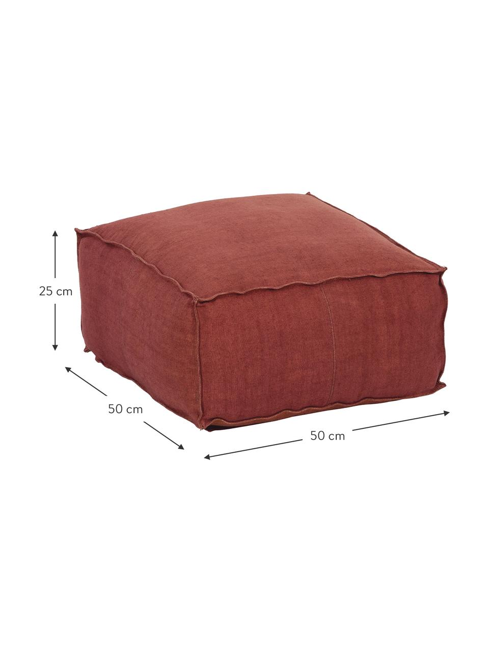 Cuscino da pavimento in lino fatto a mano Zafferano, Rivestimento: 100% lino, Rosso ruggine, Larg. 50 x Alt. 25 cm