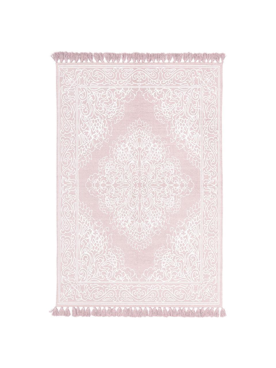 Tapis rose et blanc à houppes, tissé main Salima, Rose, blanc crème