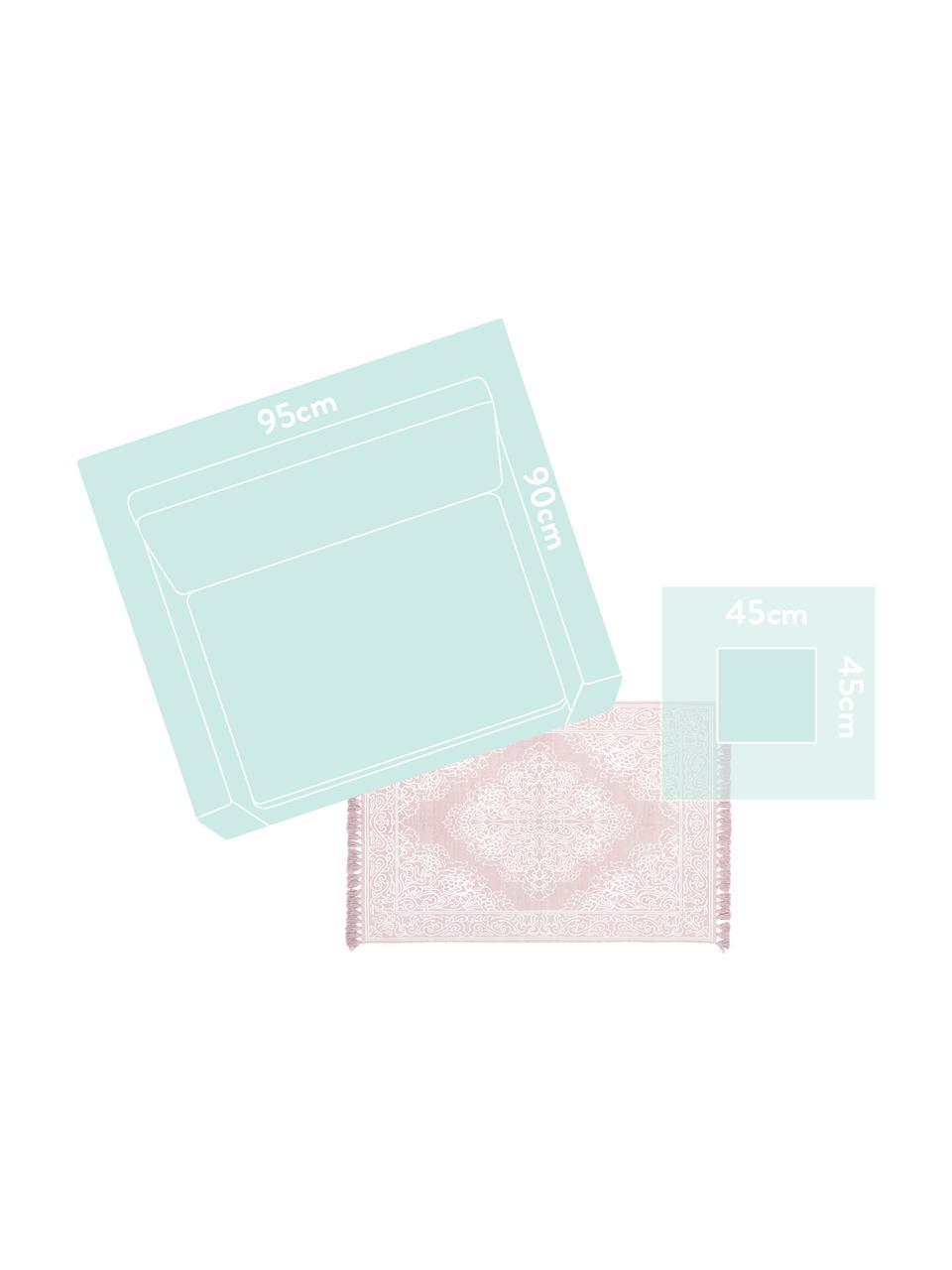 Handgeweven katoenen vloerkleed met patroon Salima met kwastjes, 100% katoen, Roze, crèmewit, B 200 x L 300 cm (maat L)