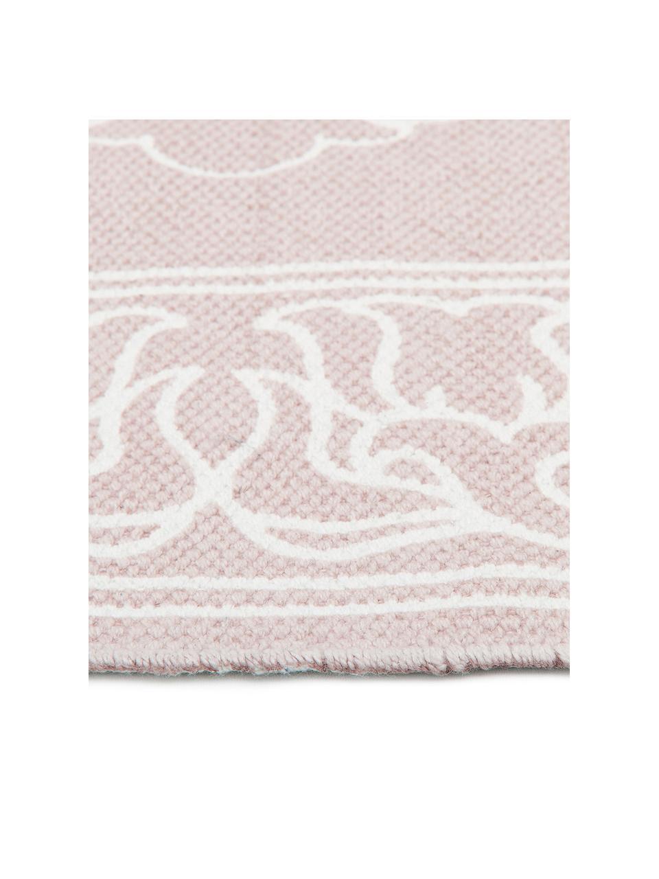 Ręcznie tkany dywan z bawełny z chwostami Salima, 100% bawełna, Blady różowy, kremowobiały, D 200 x S 300 cm (Rozmiar L)