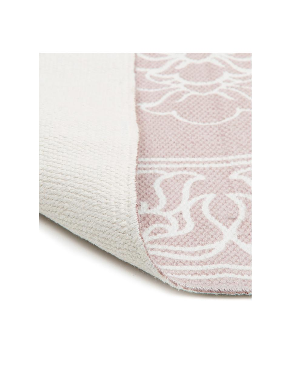 Gemusterter Baumwollteppich Salima mit Quasten, handgewebt, 100% Baumwolle, Rosa, Cremeweiß, B 200 x L 300 cm (Größe L)