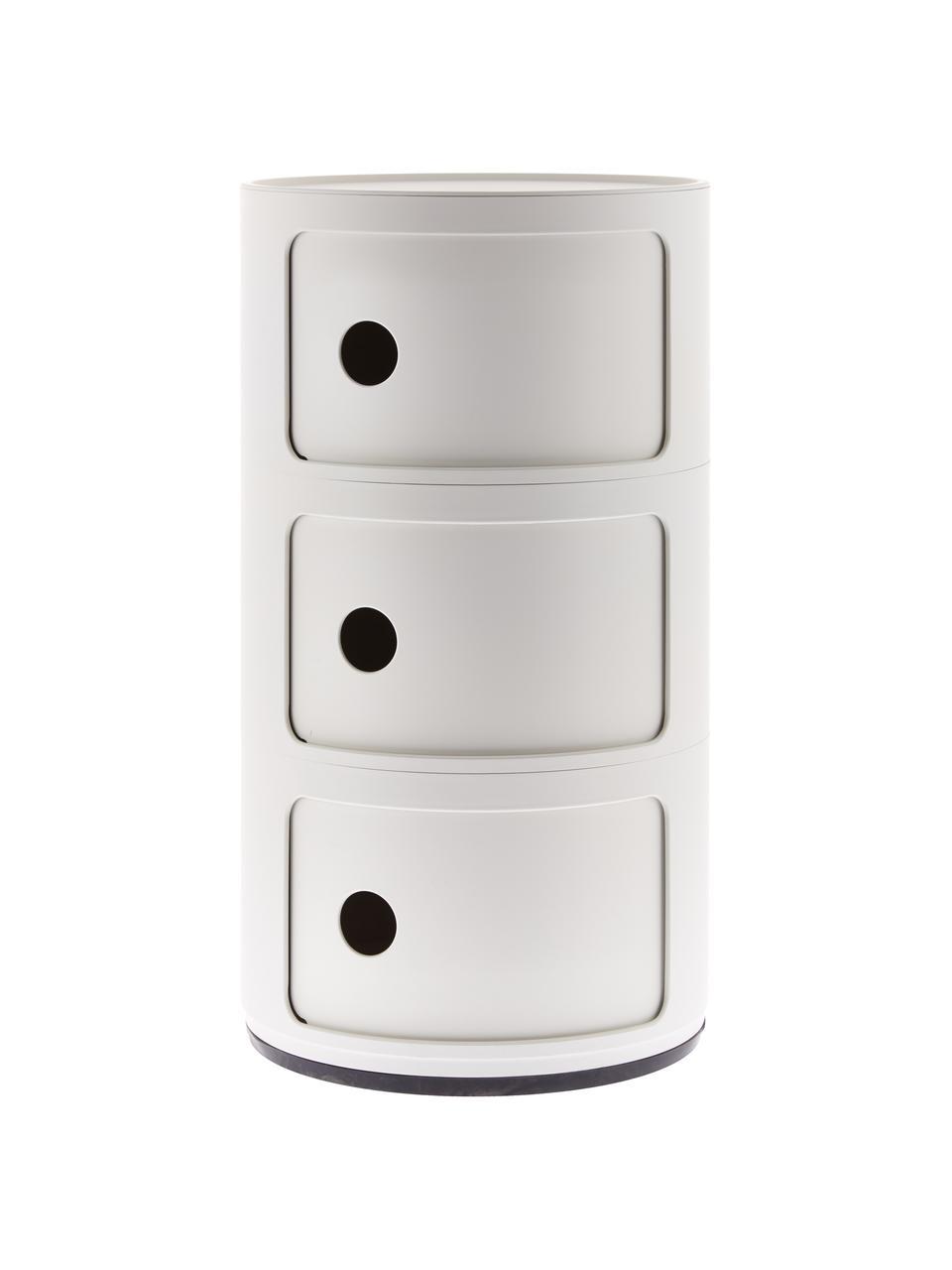 Contenitore di design a 3 cassetti Componibili, Tecnopolimero termoplastico ricavato da scarti industriali riciclati, Bianco opaco, Ø 32 x Alt. 59 cm
