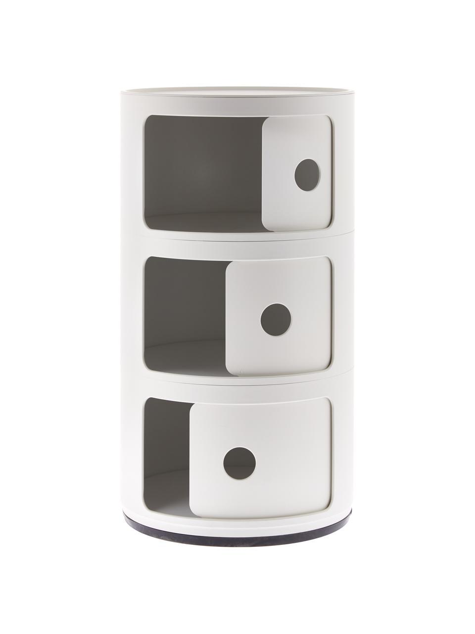 Design Container Componibili Recycled 3 Modules, Thermoplastisches Technopolymer aus recyceltem Industrieausschuss, Recycled Weiß, matt, Ø 32 x H 59 cm