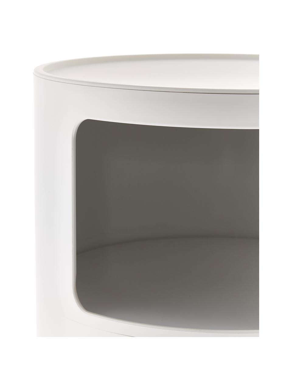 Design bijzettafel Componibile, 3 vakken, Gelakt kunststof (ABS), Mat wit, Ø 32 x H 59 cm