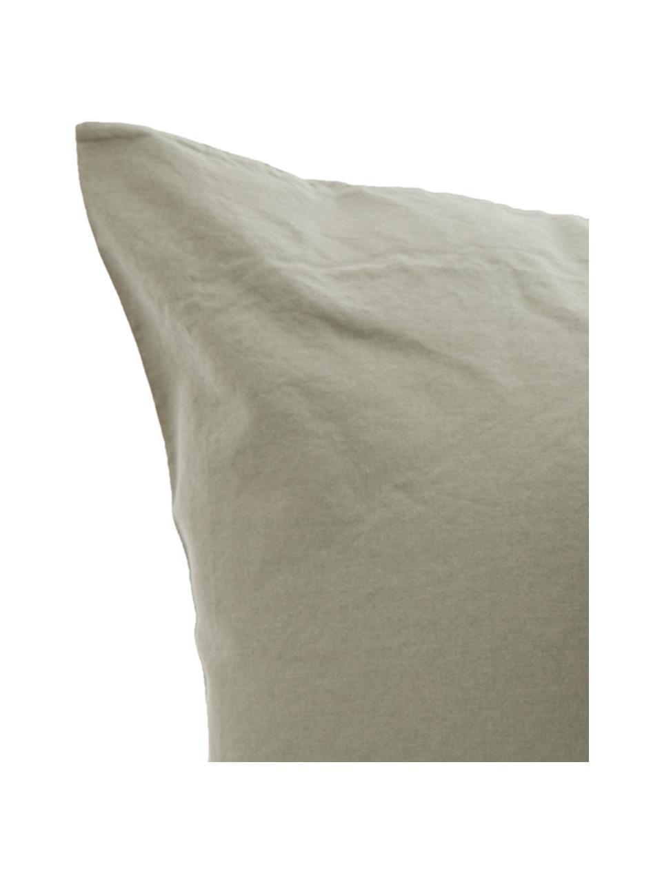 Parure copripiumino in cotone effetto stone washed Velle, Tessuto: cotone ranforce, Fronte e retro: verde reseda, 155 x 200 cm + 1 federa 50 x 80 cm