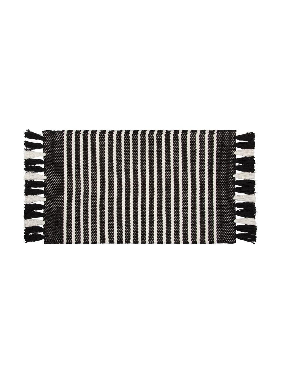 Gestreifter Badvorleger Stripes & Structure mit Fransenabschluss, 100% Baumwolle, Anthrazit, gebrochenes Weiß, 60 x 100 cm