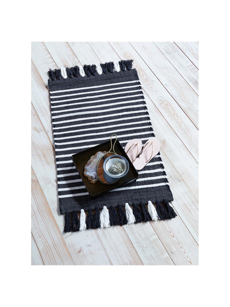 Tappeto bagno con frange Stripes & Structure, 100% cotone, Antracite, bianco latteo, Larg. 60 x Lung. 100 cm