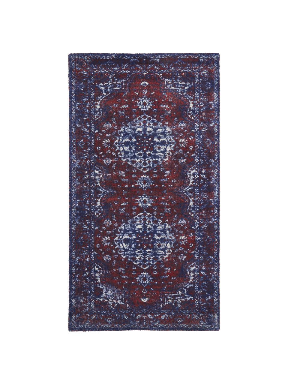 Vloerkleed Elegant in vintage stijl, Bovenzijde: 100% nylon, Onderzijde: 100% katoen, Rood, blauw, B 80 x L 150 cm (maat XS)