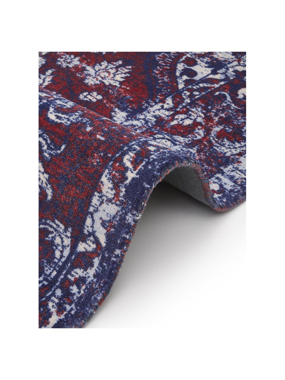 Tappeto vintage in nylon e cotone Elegant, Retro: 100% cotone, Rosso, blu, Larg. 120 x Lung. 180 cm (taglia S)