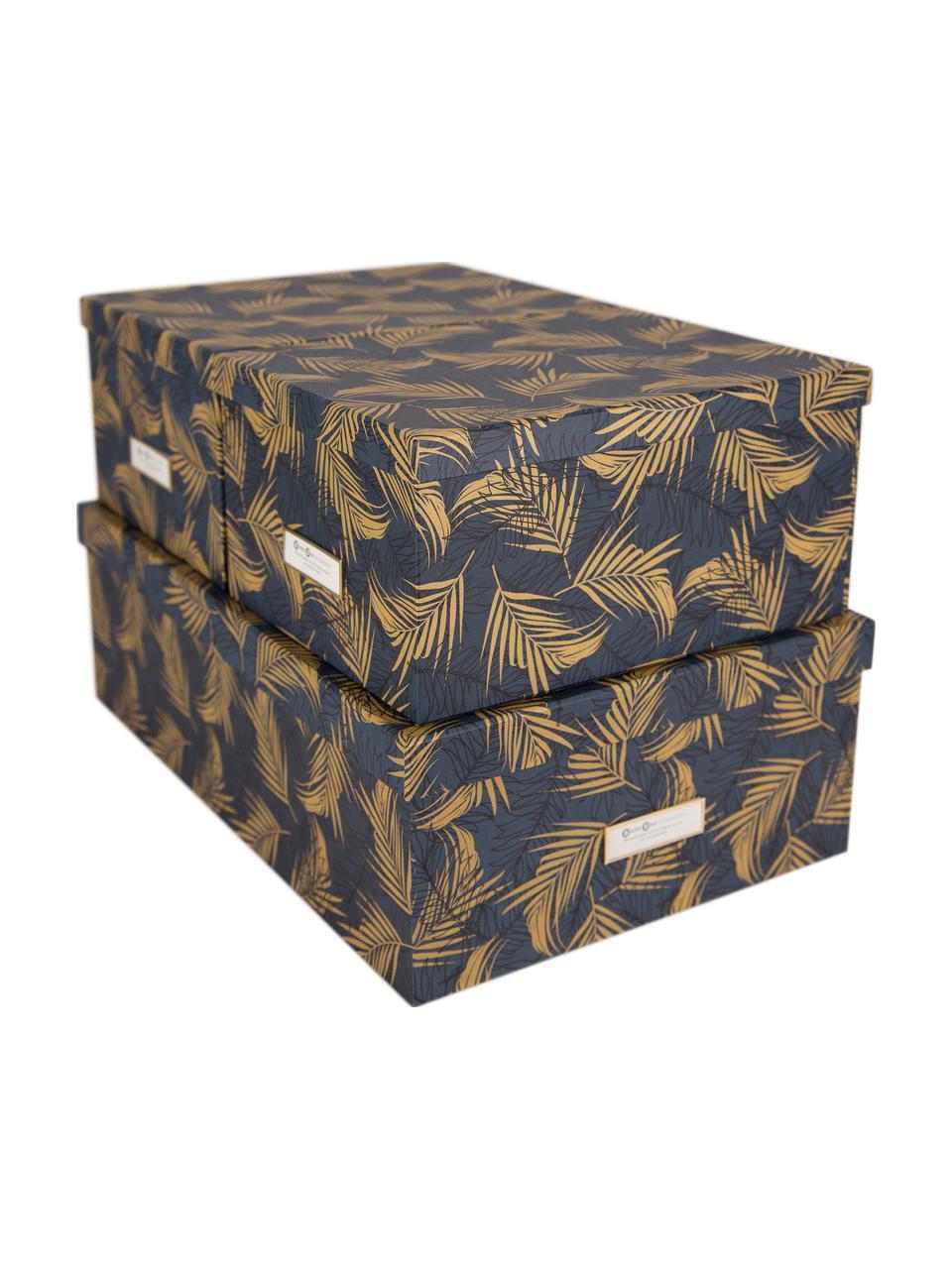 Set 3 scatole Inge, Scatola: solido, cartone laminato, Dorato, blu grigio, Set in varie misure