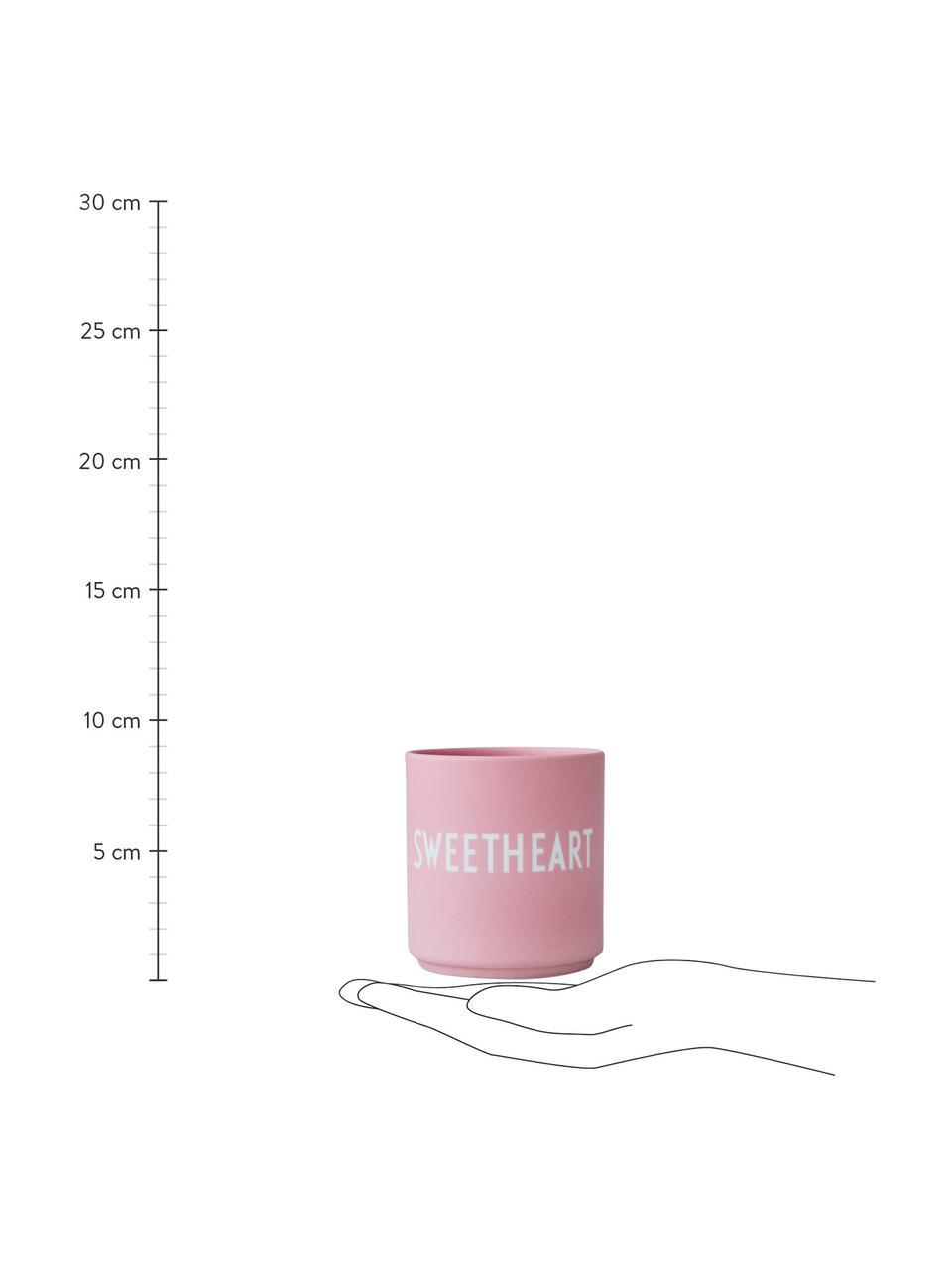 Design Becher Favourite SWEETHEART in Rosa mit Schriftzug, Fine Bone China (Porzellan) Fine Bone China ist ein Weichporzellan, das sich besonders durch seinen strahlenden, durchscheinenden Glanz auszeichnet., Rosa, Weiß, Ø 8 x 9 cm