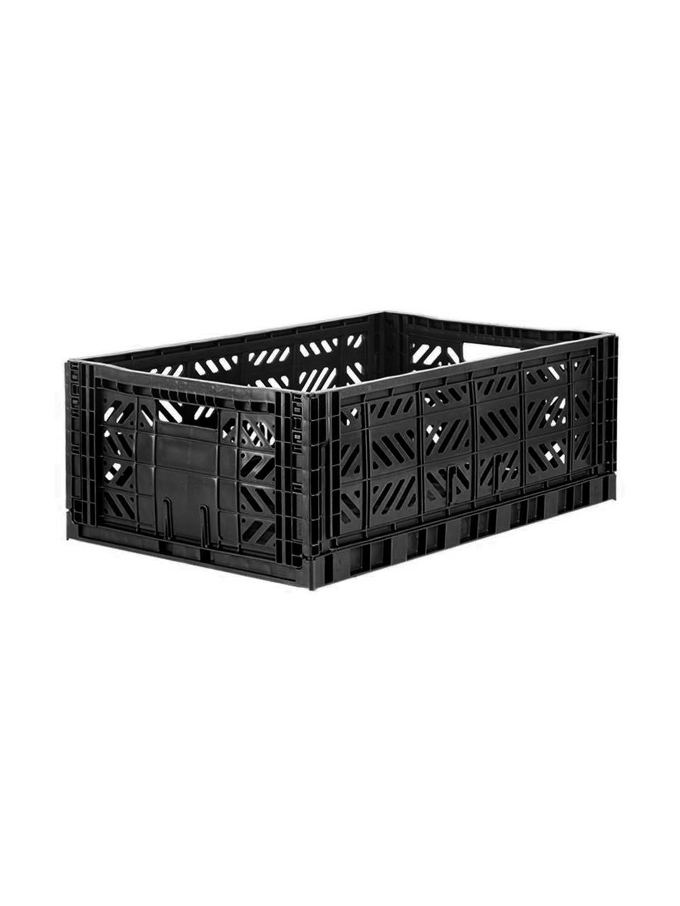 Cestino pieghevole, impilabile, grande Black, Materiale sintetico riciclato, Nero, Larg. 60 x Alt. 22 cm