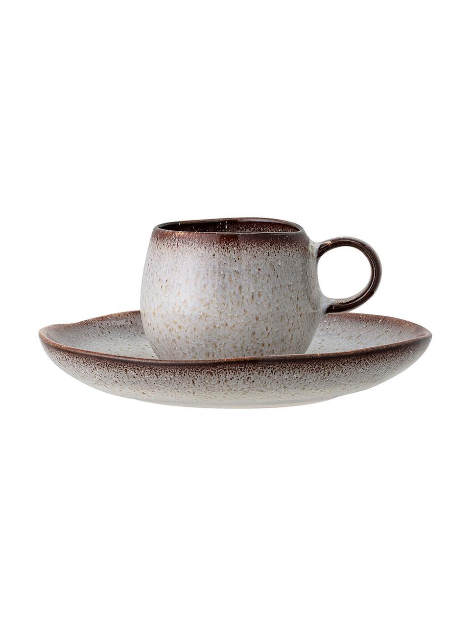 Ręcznie wykonana filiżanka do espresso ze spodkiem Sandrine, Kamionka, Odcienie beżowego, Ø 7 cm x W 6 cm