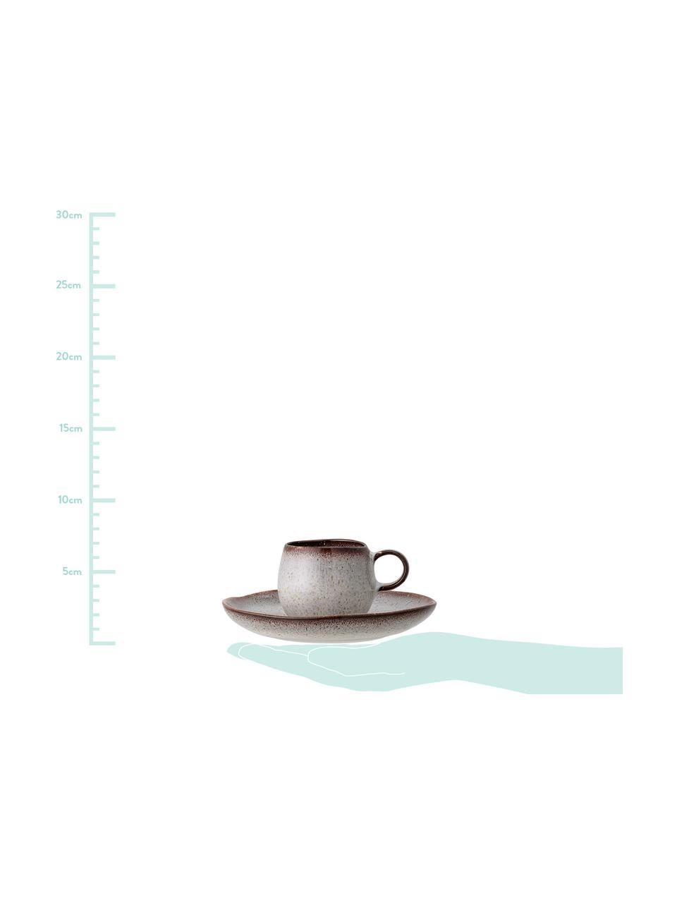Handgemachte Espressotasse mit Untertasse Sandrine in Beige, Steingut, Beigetöne, Ø 7 cm x H 6 cm