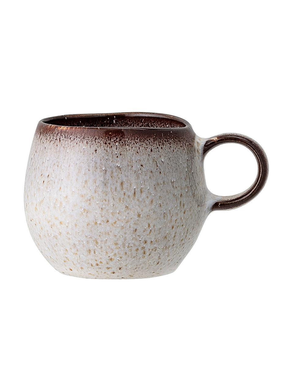 Tazzina con piattino fatti a mano Sandrine, Gres, Tonalità beige, Ø 7 x Alt. 6 cm