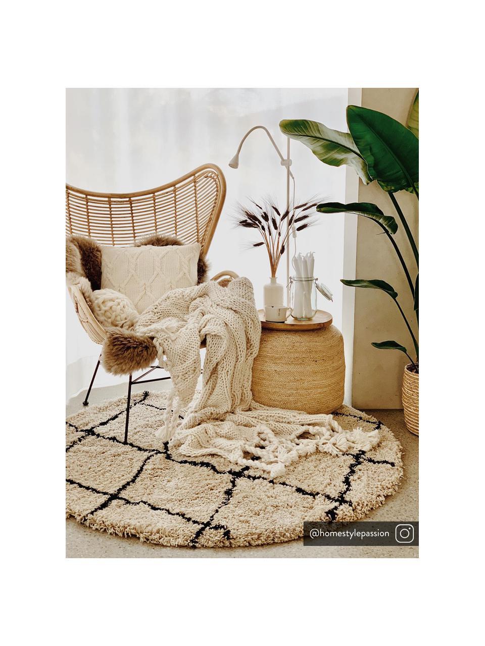 Okrągły puszysty ręcznie tuftowany dywan z wysokim stosem Naima, Beżowy, czarny, Ø 200 cm  (Rozmiar L)