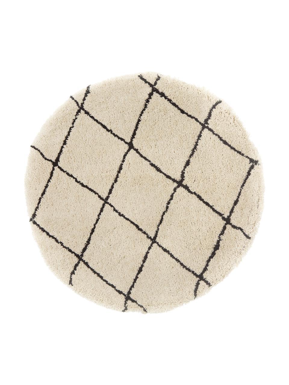 Tappeto rotondo morbido a pelo lungo taftato a mano Naima, Retro: 100% cotone, Beige, nero, Ø 200 cm (taglia L)