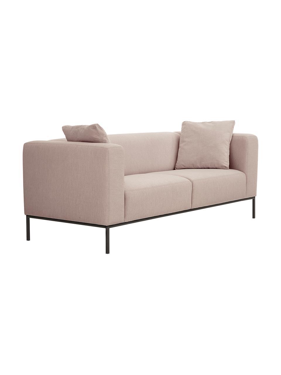 Sofa Carrie (3-Sitzer) in Altrosa mit Metall-Füßen, Bezug: Polyester 50.000 Scheuert, Gestell: Spanholz, Hartfaserplatte, Füße: Metall, lackiert, Webstoff Altrosa, B 202 x T 86 cm