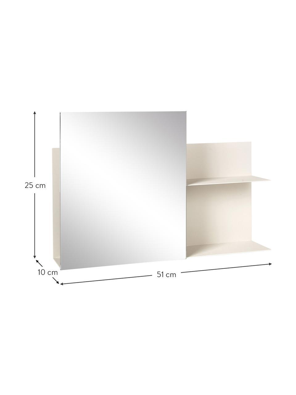 Półka ścienna z metalu z lustrem Svante, Kremowy, S 51 x W 25 cm
