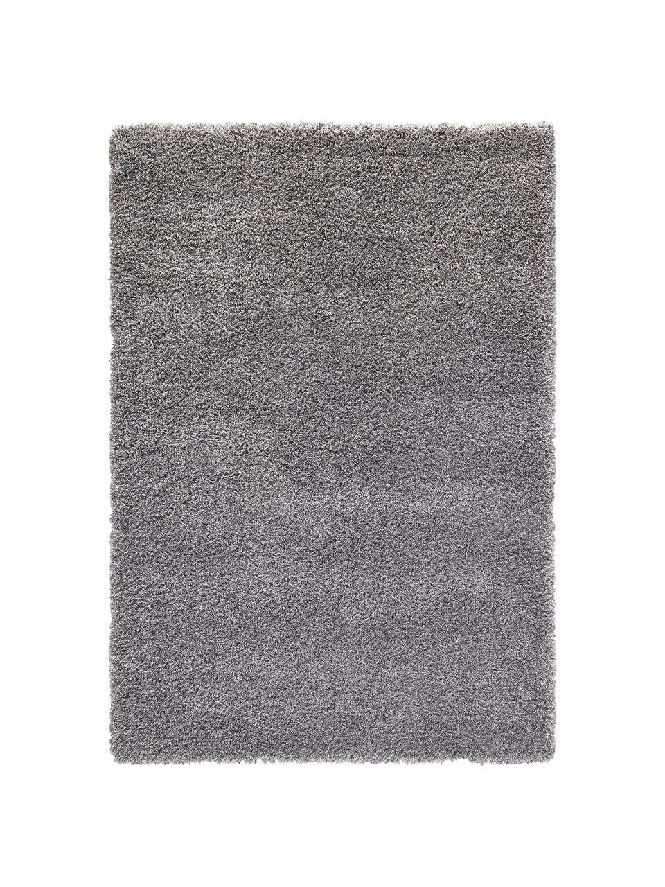 Flauschiger Hochflor-Teppich Venice in Grau, Flor: 100% Polypropylen, Grau, 80 x 150 cm