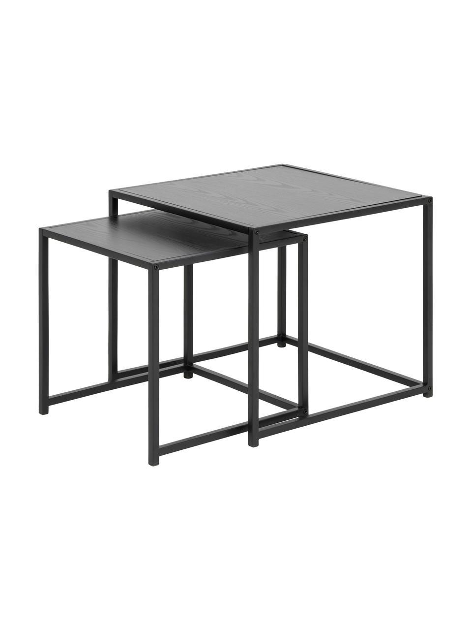 Beistelltische-Set Seaford, 2-tlg., Mitteldichte Holzfaserplatte (MDF), Metall, Schwarz, Sondergrößen