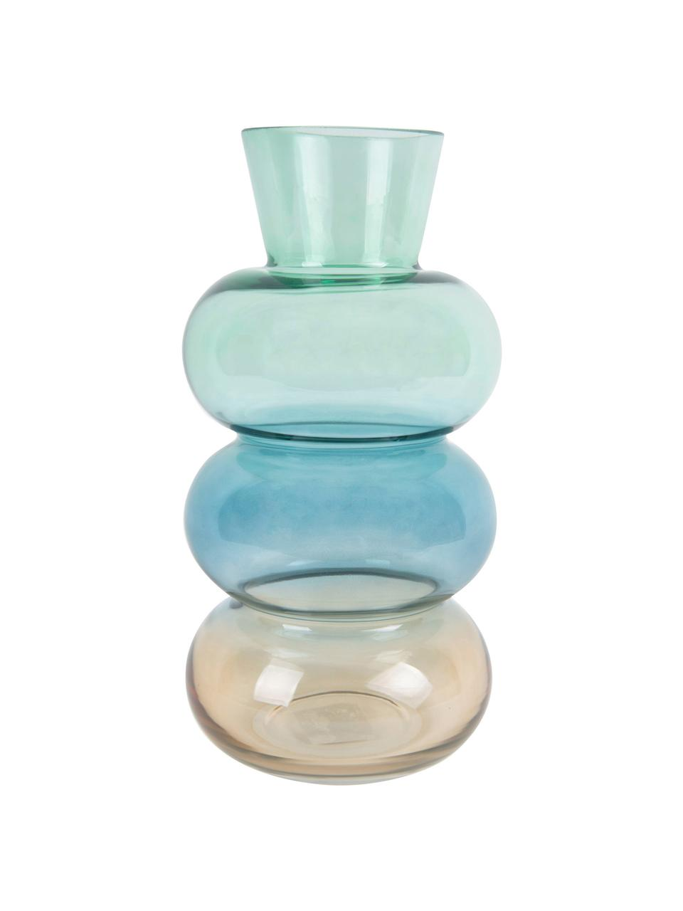 Mungeblasene Glasvase Winter Dream, Glas, Braun, Blau, Grün, Ø 14 x H 28 cm
