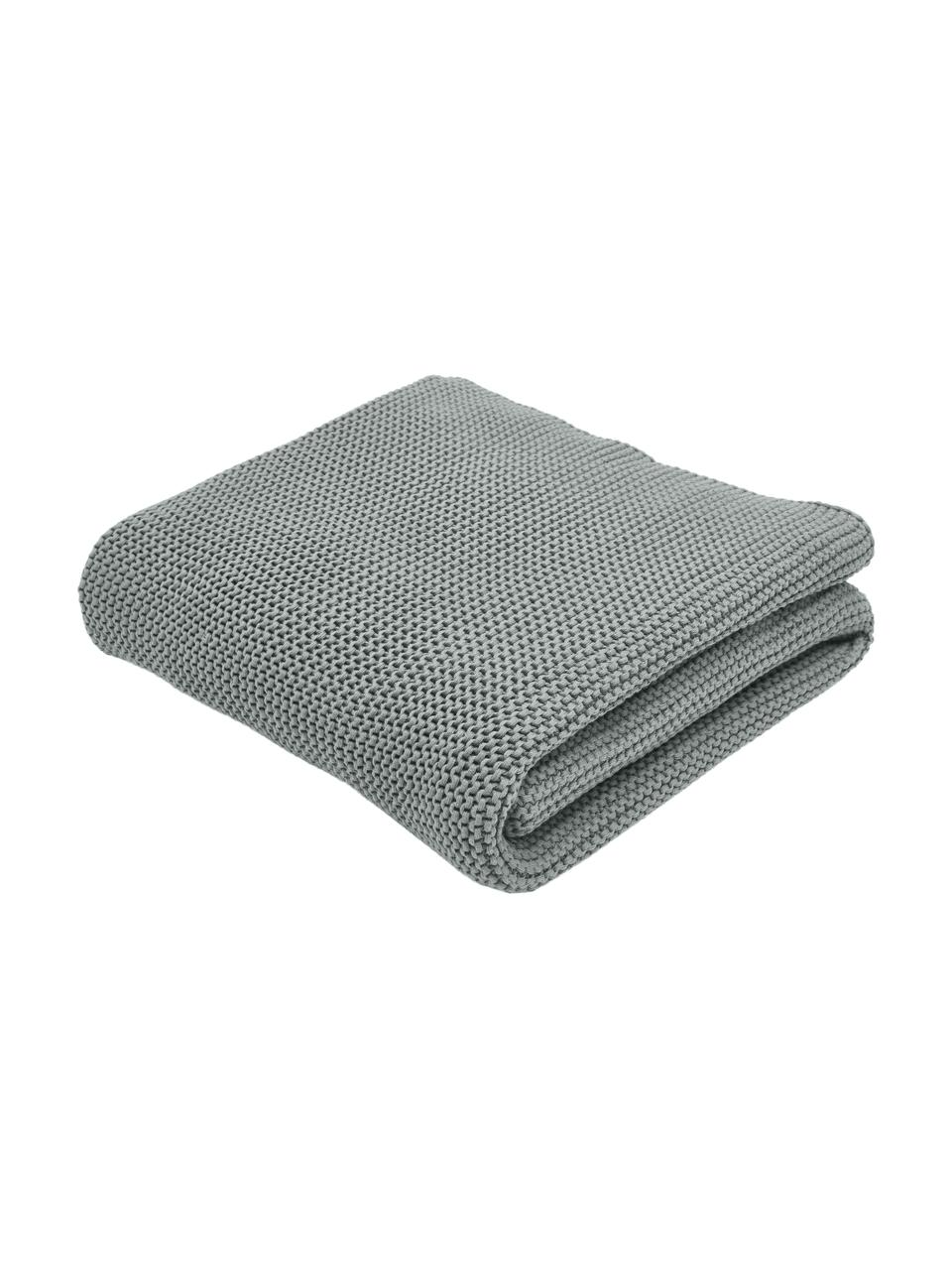 Plaid a maglia in cotone biologico verde salvia Adalyn, 100% cotone biologico, certificato GOTS, Verde salvia, Larg. 150 x Lung. 200 cm
