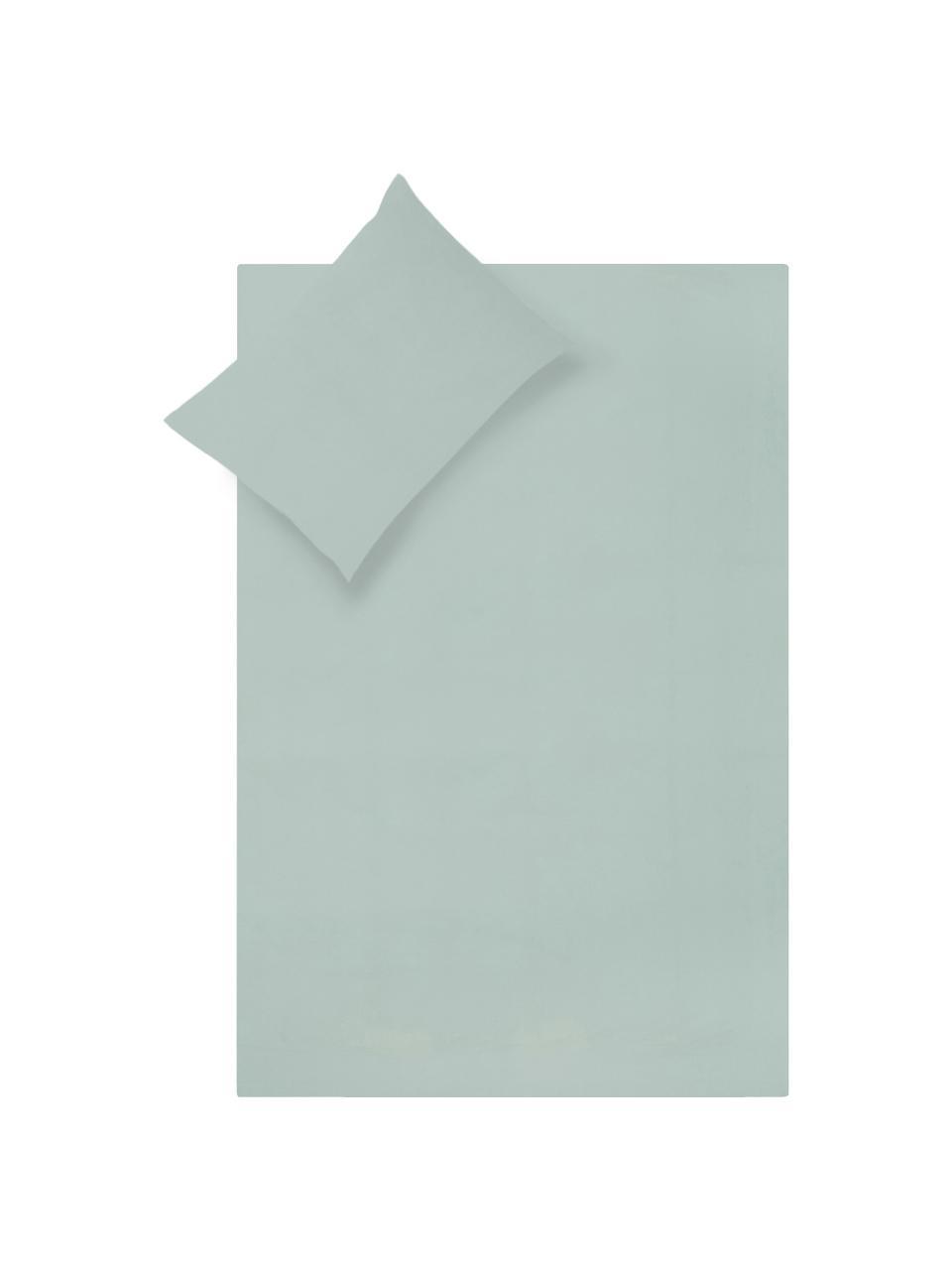 Set lenzuola in cotone percalle verde salvia Elsie, Verde salvia, 240 x 300 cm + 2 cuscini 50 x 80 cm