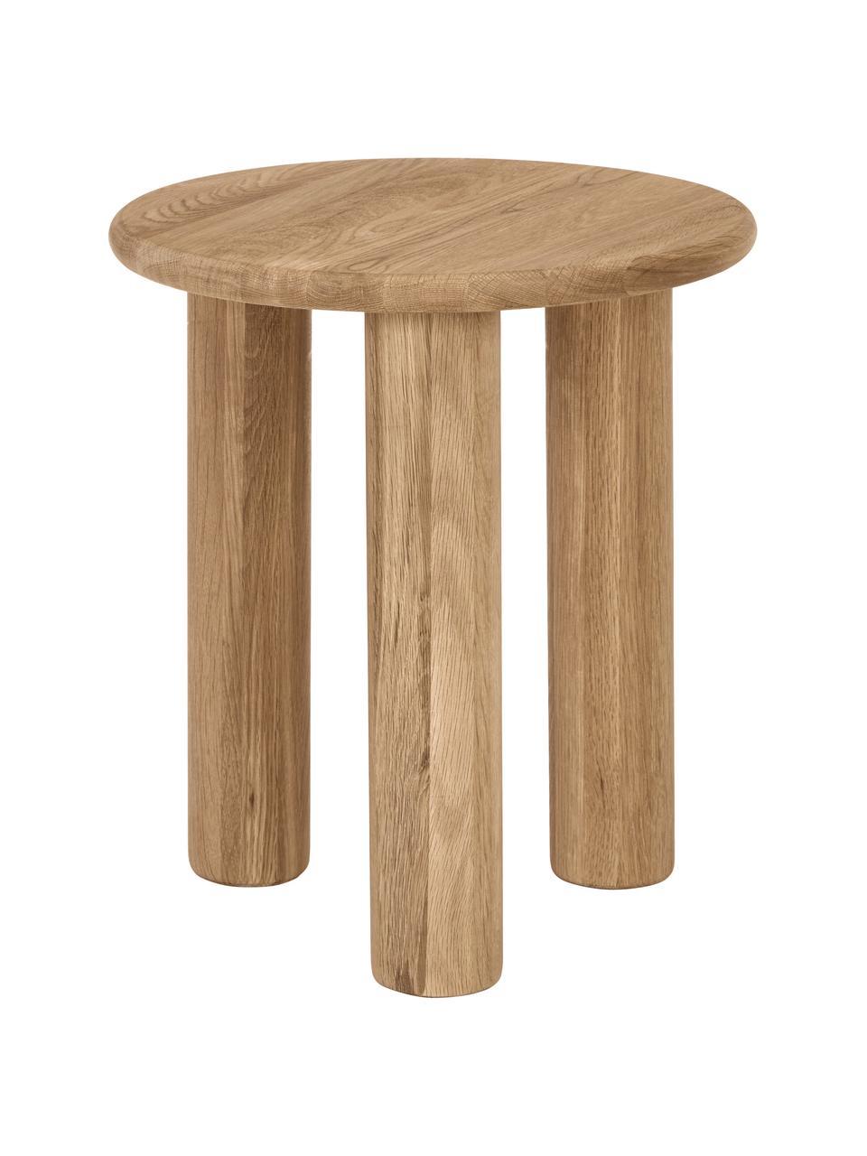Tavolino rotondo in legno di quercia Didi, Legno massiccio di quercia oliato, Marrone, Ø 40 x Alt. 45 cm